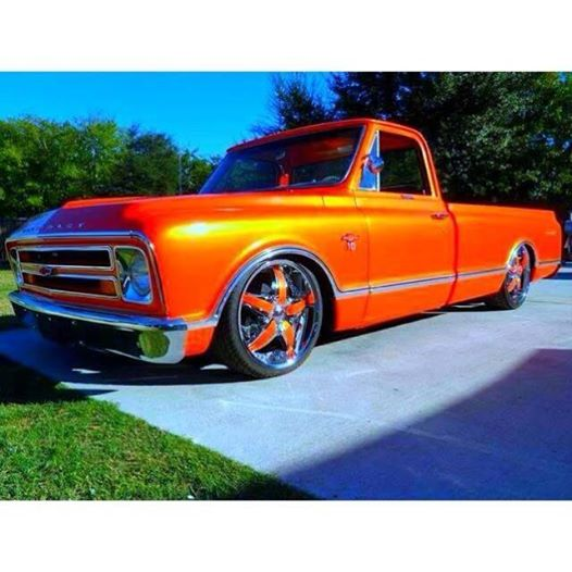 Blue Ghost Pearl on this orange Chevy Truck.