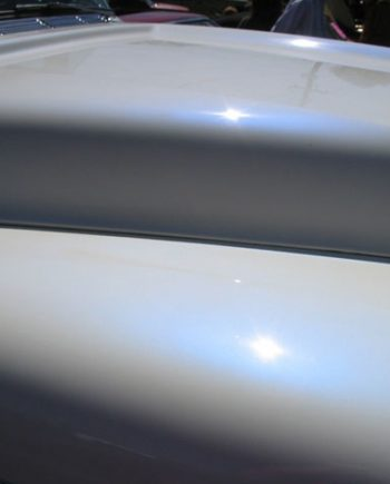 Blue Satin iridescent Phantom Pearls on White Hood