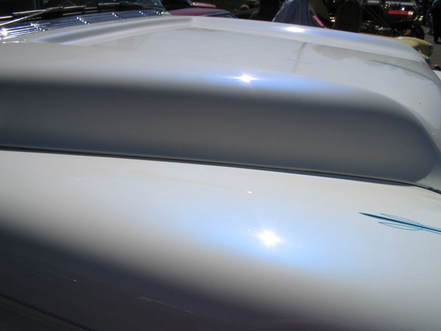 Blue Satin iridescent Phantom Pearls on White Hood