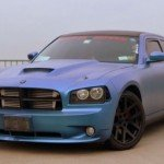 Chameleon Dodge Charger with matte finish Blue to Purple Chameleon paint pigment on it.