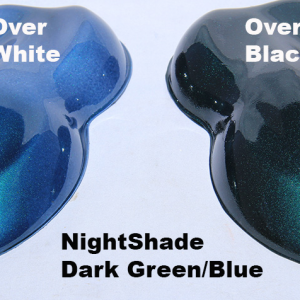 Nightshade Green-Blue Candy Paint Pearl over White and over Black