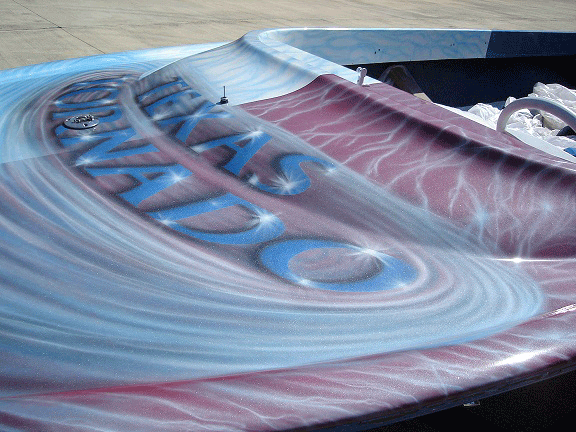 Jet boat airbrushed with Red Wine Candy, Electric Blue, Silver Platinum Phantom Pearls.