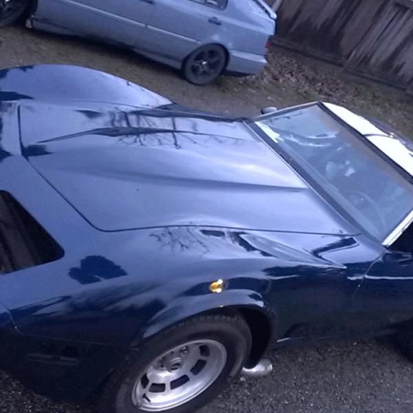 Electric Blue Corvette painted over black base coat. True Custom Paint.
