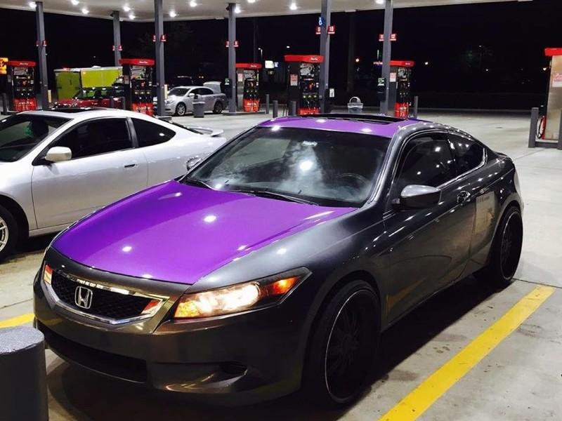 Purple Candy Metallic Pigment on car hood.