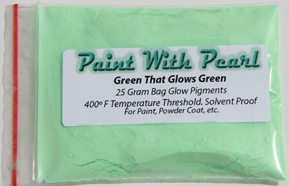 This light minty looking green is actually a green that glows green paint pigment.