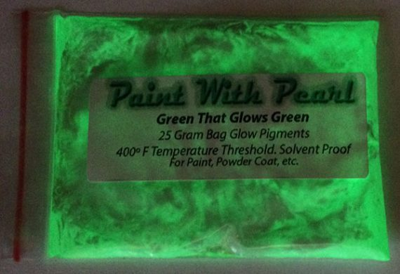 Glow in the Dark paint pigments. Green glows green pigment for paint and other coatings.