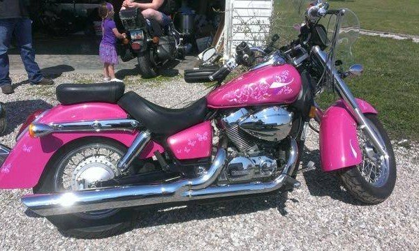 Hot Pink Harley with Silver ghost Pearls.