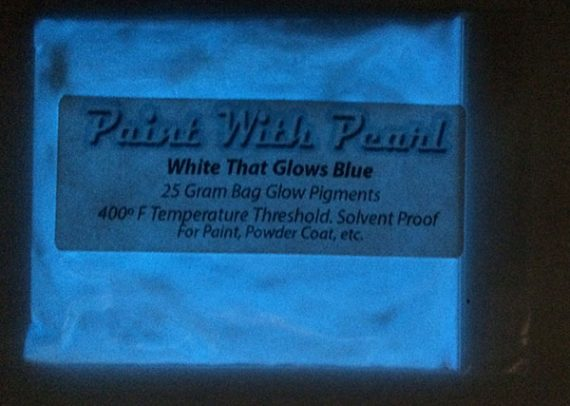"White that Glows Blue paint pigment. Glows at night after being ""charged"" under light."